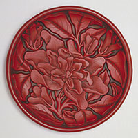 Carved Lacquer Plate with Gardenia Design