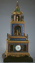 Pavilion-shaped Cloisonné Clock with a Pagoda