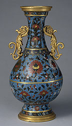Cloisonné Vase with Dragon-shaped Pierced Handles and Interlocking Lotus Design