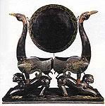 Drum, Phoenix design; lacquered-tiger design pedestal