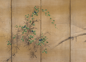 Pine and Camellias; Bamboo and Morning Glories