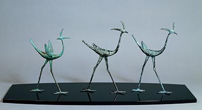 蠟型鋳銅置物「三禽」