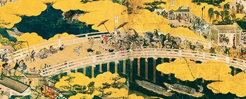 重要文化財 洛中洛外図屏風 舟木本(右隻4・5扇「五条大橋」) 岩佐又兵衛筆 江戸時代・17世紀 東京国立博物館蔵