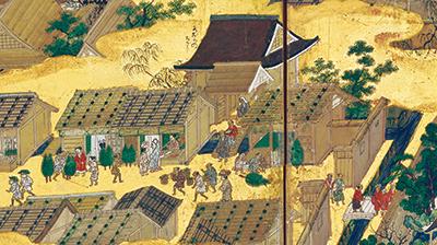 国宝 洛中洛外図屏風 上杉本(右隻3・4扇「正月を迎える歳末の風景」) 狩野永徳筆 室町時代・16世紀 山形・米沢市上杉博物館蔵