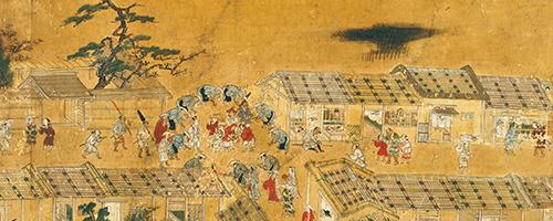 重要文化財 洛中洛外図屏風 歴博甲本(右隻6扇「念仏踊りの風流」) 室町時代・16世紀  国立歴史民俗博物館蔵