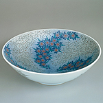 Bowl, Flowers in overglaze enamel