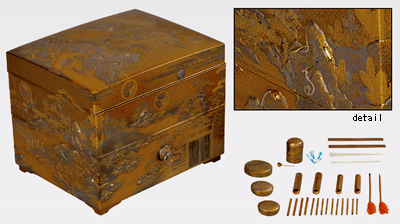 Eyebrow cosmetic box, table, and writing box, from the bridal trousseau of Chiyohime