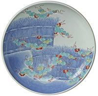 Large Dish, Brushwood fence design in overglaze enamel