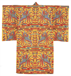 Bingata stencil-dyed simple gauze weave robe with design of phoenixes, auspicious clouds and mist on yellow ground