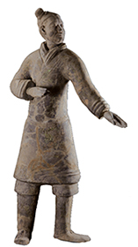 Pottery figure of standing archer