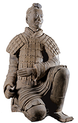 Pottery figure of kneeling archer