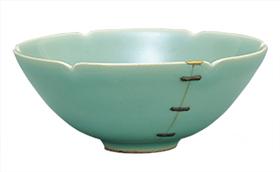 青磁輪花茶碗 銘「鎹」