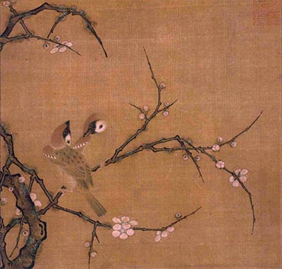 Plum Blossoms and Pair of Sparrows, Attributed to Ma Lin (Ba Rin)