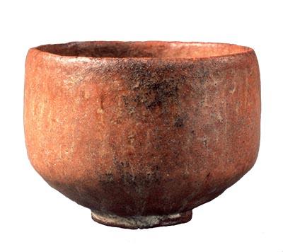 "Tea Bowl, Aka (red) raku type, Known as Muichimotsu (""with nothing"")"