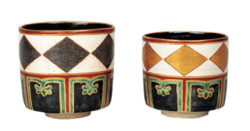 Stacking Tea Bowls, Gold and silver, Lozenges design in overglaze enamels