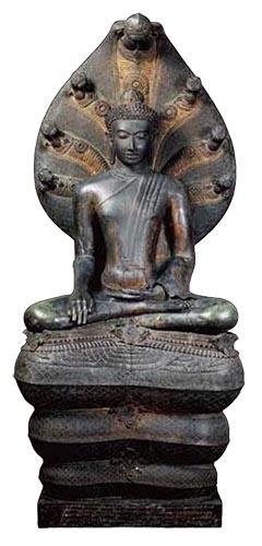 ナーガ上の仏陀坐像