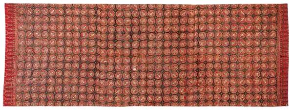 寺院用布 黄木綿地合掌天人幾何文様更紗