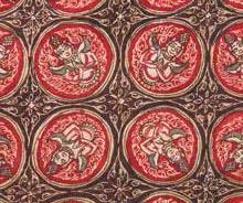 寺院用布 黄木綿地合掌天人幾何文様更紗 部分