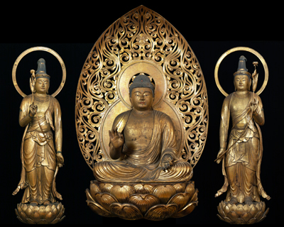 Important Cultural Property Seated Amida Nyorai and Two Standing Attendants