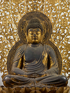 Seated Amida Nyorai (Amitabha) with Standing Attendants, National Treasure