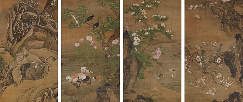 重要文化財 四季花鳥図 呂紀筆