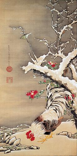雪梅雄鶏図 伊藤若冲筆 江戸時代・18世紀 京都・両足院蔵