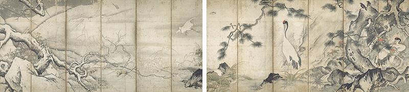 重要文化財 四季花鳥図屛風 雪舟等楊筆 室町時代・15世紀 京都国立博物館蔵