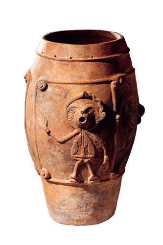 Vessel with flange and small perforations decorated with human figure