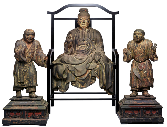 Seated Fu Daishi (Buddhist Master Fu Xi) and standing two child attendants