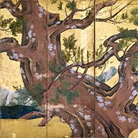 国宝 檜図屏風(部分) 狩野永徳筆 安土桃山時代・天正18年(1590)