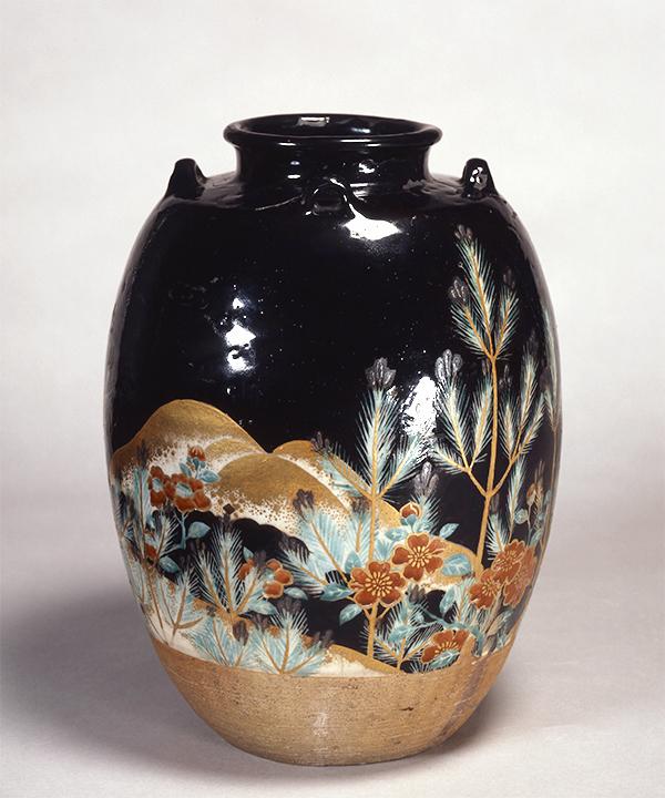 色絵若松図茶壺