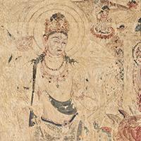法隆寺金堂壁画 第六号壁 阿弥陀浄土図 勢至菩薩像(部分) 桜井香雲模 明治17年(1884)