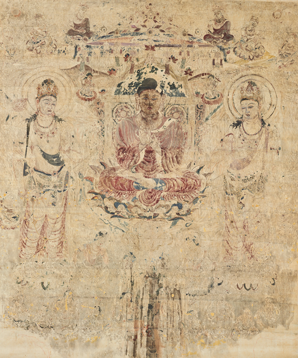 法隆寺金堂壁画(模本)第6号壁 阿弥陀浄土図