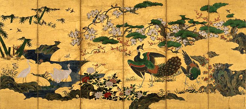 重要文化財 四季花鳥図屛風(しきかちょうずびょうぶ)