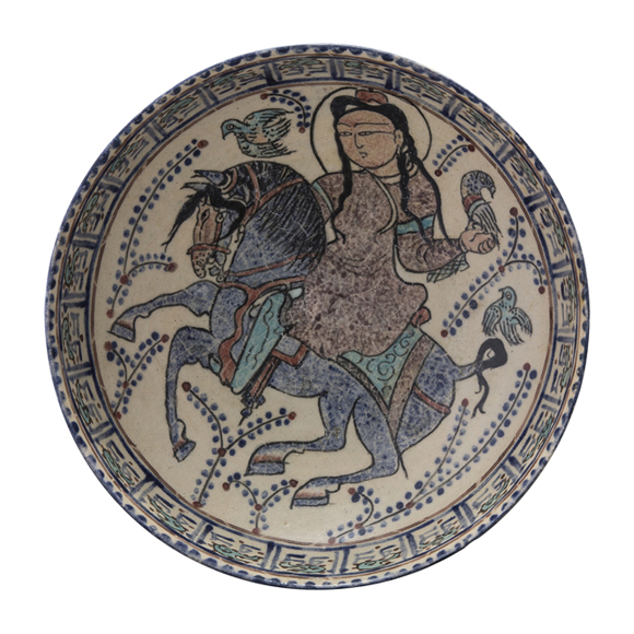 Enamelled painted bowl with a falconer on horseback