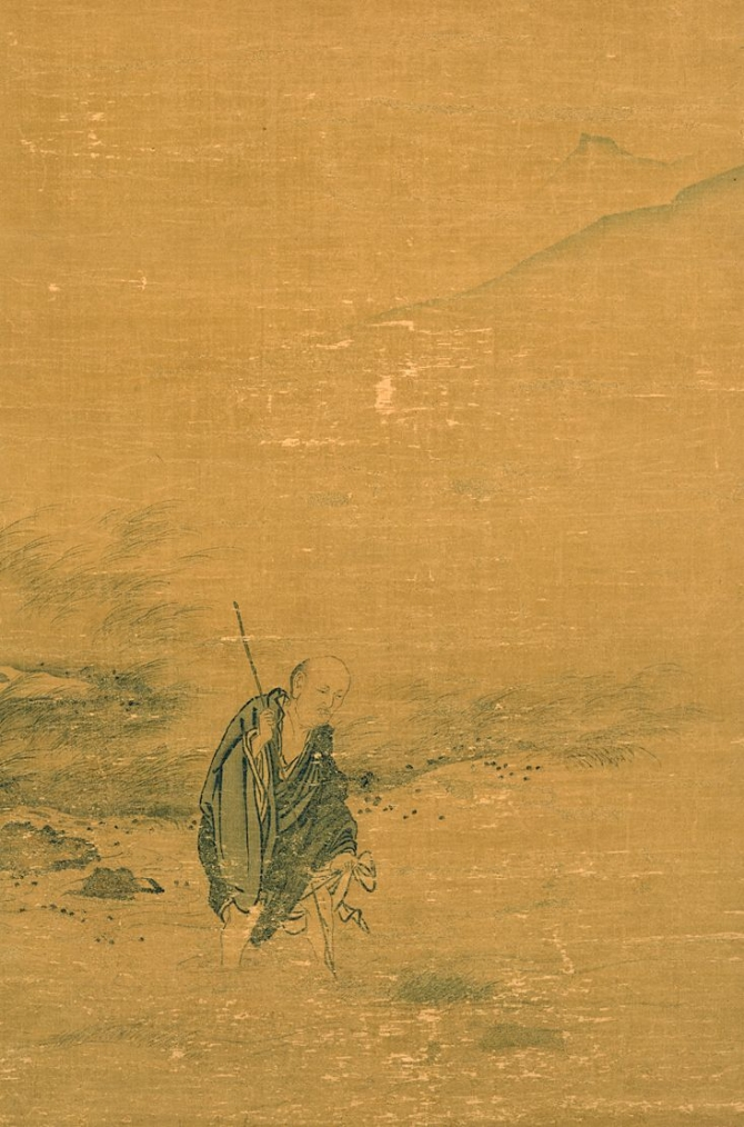 """Image of """"The priest Dongshan wading the stream."""""""