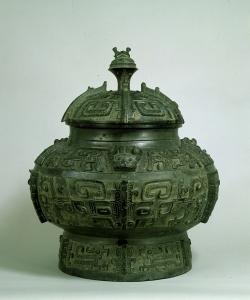 "Image of ""Large wine jar pou with taotie design."""