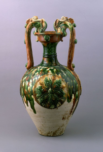"""Image of """"Three-color glazed vase with dragon handles and applied medallions."""""""