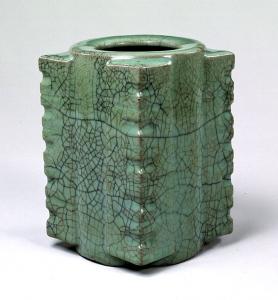 """Image of """"Celadon glazed vase in shape of jade cong."""""""