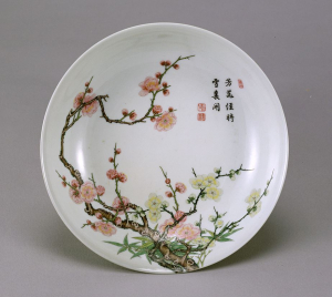 """Image of """"Dish with plum tree design in famille rose enamels."""""""