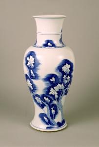 """Image of """"Vase with magnolia design in underglaze blue."""""""
