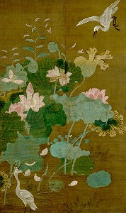 """Image of """"Lotus pond and waterfowl."""""""
