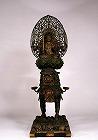 """Image of """"Seated Monju Bosatsu (Manjusri) and attendants."""""""