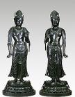 "Image of ""Standing Gakko Bosatsu (Candraprabha) and Standing Nikko Bosatsu (Suryaprabha)National TreasureAsuka or Nara Period, 7 or 8 centuryYakushi-ji Temple, Nara(C) Askaen"""