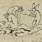 """Image of """"Scrolls of Choju Giga, Frolicking Animals (detail), Heian Period, 12th century (National Treasure, Lent by Kosan-ji Temple, Kyoto) this scene on exhibit : April 28 - May 17, 2015"""""""