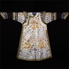 "Image of ""Chaopao Garment, Dragon and bat design on pale yellow satin ground, Qing dynasty, 19th century (Lent by the Shanghai Museum, exhibit at room 13)"""