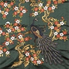 """Image of """"Fukusa (Gift cover), Cherry blossom and peacock design on green satin ground (detail), Edo period, 19th century"""""""