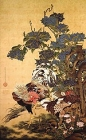 """Image of """"Rooster, Hen and HydrangeasBy Ito JakuchuThe Etsuko and Joe Price collection"""""""