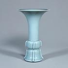 """Image of """"Vase in Shape of Gu Bronze VesselCeladon glaze, Jingdezhen ware, Qing dynasty, Qianlong era (Gift of Mr. Hirota Matsushige)"""""""