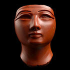 "Image of ""Head of a Royal Figure, Red jasper, c. 1473-1292 BC, Egypt"""